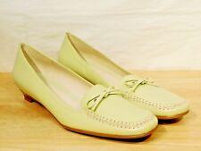 Flats 9M Green Leather Loafers Slip On Kitten Heels Etienne Aigner
