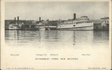 New Bedford MA Steamboat Piers Ships c1905 Postcard #1 rpx