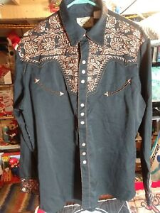 Scully Embroidered Western Cowboy Rodeo Pearl Snap Shirt Black Medium