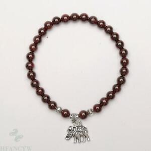 6mm garnet Gemstone elephant Mala Stretchy Bracelets Cuff Meditation Lucky Pray
