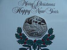 I.O.M Christmas Card 50p Coin - Edwardian Scene {Sutherland's Locomotive}  RED