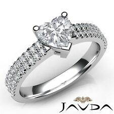 1.4ctw 2 Row Shank Sidestone Heart Diamond Engagement Ring GIA D-SI1 White Gold