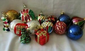Lot 14 Xmas Tree Glass Ornaments Balls Bell Vtg Germany Czech Slovakia Silver