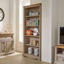 c44372a2f192 Corona Grey Tall Pine Bookcase 5 Book Shelves Mexican Solid Wood Living Room