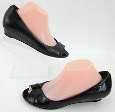 Cole Haan Nike Air Open Toe Low Wedges Black Textured Patent Sz 8.5B