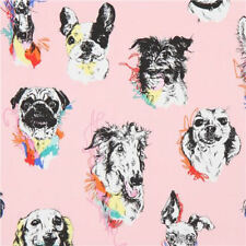 DOGS Fabric Fat Quarter Cotton Craft Quilting BOW WOW WOW Alexander Henry PINK