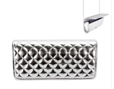 SILVER METALLIC QUILTED STYLE EVENING PURSE CLUTCH BAG DETACHABLE CHAIN WEDDING