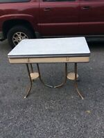 VINTAGE ART DECO PORCELAIN ENAMEL KITCHEN TABLE-DROP LEAF gray chrome antique