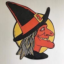 H.E. Luhrs Vintage Halloween Witch Cardboard Die Cut Decoration