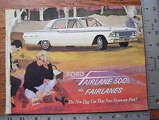 Original 1962 62 Ford Fairlane 500 Options Accessories Dealer Sales Brochure