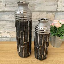 Modern Geometric Gun Metal Ceramic Home Table Decorative Tall Bottle Flower Vase