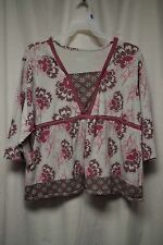 Womens Shirt Size 3X By D & Co Gray Pull Over 3/4 Sleeve Pink Floral