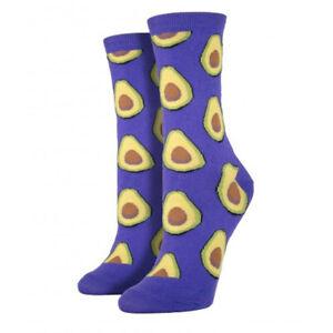 Socksmith Women's Crew Socks Avocado Fruit Grape Purple Novelty Footwear