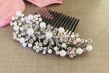 Uk Bridal Prom Silver Crystal Diamanté Pearl Hair Clip Comb Slide Fascinator