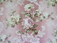 Beautiful 19thC (1880) Printed French Cotton Pink Rose Home Fabric Yardage~2+yds