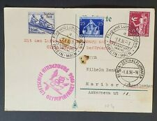 1936 Germany Maribor Yugoslavia LZ 129 Hindenburg Olympic Flight Postcard Cover