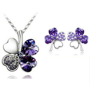 Lucky Clover Purple Ladies jewellery set Fashion Studs Earrings Necklace Sets