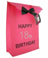 Happy 18th Birthday Glitzy Gift Present Bag in HOT PINK & Black Diamante Stones