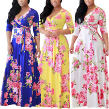 Women Ladies Boho Beach Chiffon Floral Summer Long Maxi Evening Party Wrap Dress