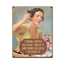 Funny Sign Coffee Wine Vintage Tin Retro Wall Art Women's Kitchen Home Decor New