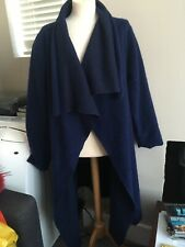 Made In Italy Wool Coatigan Coat Jacket Royal Blue Size XL