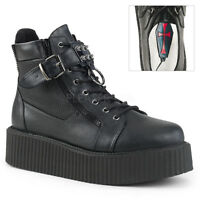Demonia V-CREEPER-566 Mens Black Vegan Leather Oxford Lace Up Creeper Ankle Boot