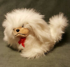 """Alegria by PMI Plush Long Haired White Puppy Dog w/ Red Bow Stuffed Animal 10"""""""