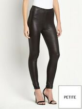 Petite Wet Look Leggings By Very Leather style Flattering Fit Glossy Black Sleek