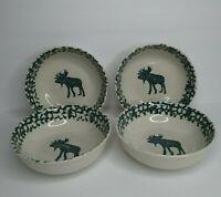 Tienshan Folk Craft Moose Country Set of 4 Cereal Soup Bowl Forest Green Sponge