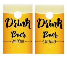 Drink Beer Save Water Cornhole Board Vinyl Decal Wrap Sticker Skin Funny Joke