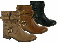 WOMENS LADIES WESTERN CHELSEA LOW HEEL DOUBLE BUCKLE SLOUCH ANKLE BOOTS UK 3-8