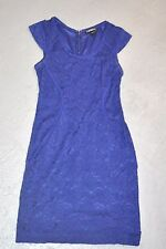 EXPRESS BLUE DRESS 0 LACE CLASSY COCKTAIL PARTY ZERO DESIGNER LINING ZIP BACK