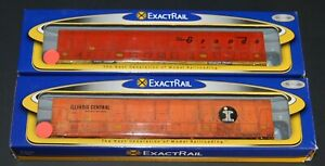 2-ExactRail N scale Vert-A-Pac cars Rio Grande & ILL. Central-custom weathered