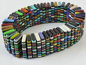 Sobral Magazine Figaro Night Vibrant Stripe Stretch Roomy Bracelet Brazil Import