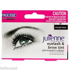 Julienne Pestañas y ceja permanente negro medianoche 01 color tinte 15ml …