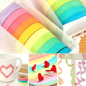 10 Rolls Rainbow Washi Tape Decorative Adhesive Paper Masking Trim DIY Craft UK