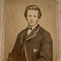 Antique CDV Photograph Handsome Young Man Teen Carrollton, Ohio