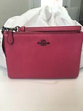 Coach 22952 Dark Pink Pebble Large Leather Wristlet Wallet Handbag NWT