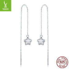 Genuine 925 Sterling Silver The Star's Waiting Zirconia  Threader Earrings Women