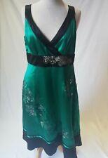 NWT Monsoon Women Ladies Party Wedding Prom Pure Silk Green Sequin Glitter Dress
