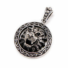 LION KING MEDAL BLACK CUBIC ZIRCON EYES 925 STERLING SILVER PENDANT won-055