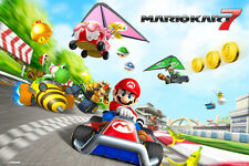 Mario Kart 7 Nintendo 3DS Wii Racing Track Characters Video Game Poster - 18x12