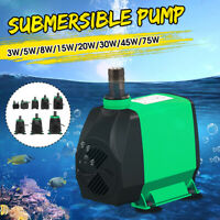 3-75W Adjustable Submersible Water Pump Quiet Aquarium Fish Pond Tank Fountain