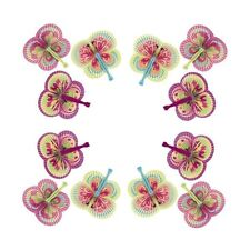 BUTTERFLY Shaped Folding Paper Fans Set of (12) for Birthday Tea Party Favors