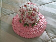 Vintage Women's Coral Pink Hat with Flowers