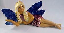 Pixie Fairy Figurine Vintage Ceramic Hand Painted Mystical Fantasy Blue Wings