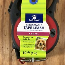 TOP PAW Retractable Tape Leash 10 Feet X-Small Up to 20 Pounds Red NEW