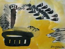 YANN DUGAIN FRANCE WOODBLOCK LITHO PRINT FRAMED ART YELLOW BLACK MODERN ABSTRACT