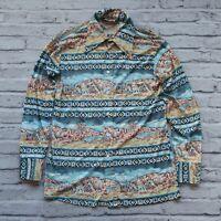 Vintage 70s Levis for Men Indian Tipi Scene Shirt 60623 5023 Made in USA Rare