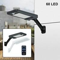 60LED Solar Wall Light PIR Motion Sensor Dimmable Lamp Outdoor Garden Street UK